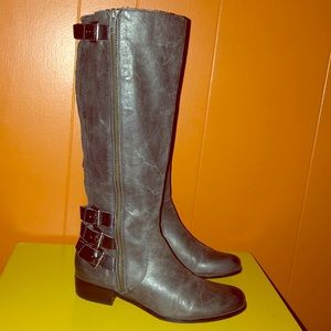 Renvy Gray Distressed Leather Knee High Boots